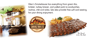 Glen's Smokehouse. If you're in the mood for hickory smoked barbecue, then this is the place for you!
